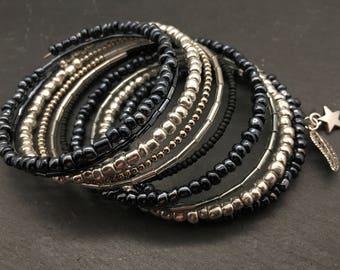 Silver and black beaded bracelet, black and silver memory wire bracelet, ten wrap bracelet, multi wrap beaded bangle