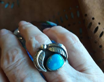 Sterling silver native American turquoise ring, size 7 3/4