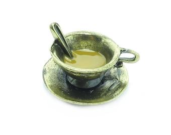 CHARM PENDANT CUP CAFÉ AU LAIT 3D BRONZE