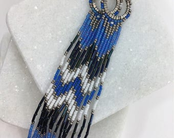Long Bohemian Fringe Lightweight Boho Hippie Chic Gipsy Blue Shoulder Dusters Earrings- Free US shipping