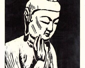 """Japanese Ukiyoe, Woodblock print. Sosaku-Hanga, """"Maitreya(Koryuji)"""""""