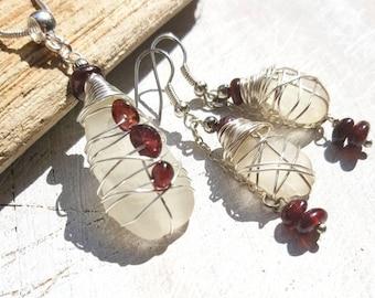 Sea Glass jewelry Set with Garnet Gemstones