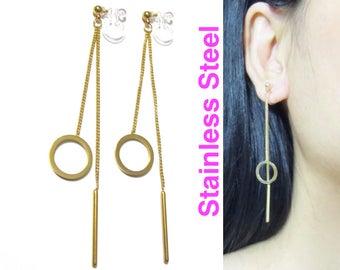 Circle Dangle Clip On Earrings  29F  Halo Bar Drop Threader Clip On earring, Long Clip Earrings, Gold Chain Clip-ons, Non Pierced Earrings