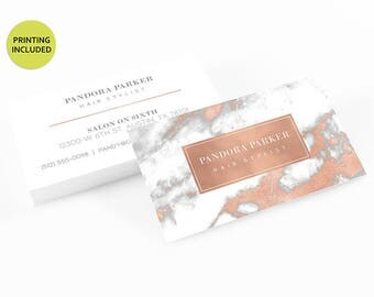 Rose Gold Marble Printed Business Cards - business cards,business card design,custom business card,cards,printing,hair,stylist,rose gold