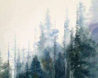 Forest painting, pine forest, pine tree watercolor, landscape painting, forest watercolor, Misty forest painting, Misty pines, tree painting