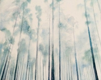Forest painting, forest watercolor, watercolor trees, Misty foresy, foggy forest, pine forest, landscape watercolor, watercolor painting