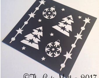 Abstract Trees Christmas Card  Paper Cutting Template - Commercial Use