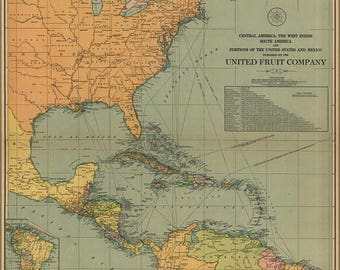40% OFF SALE Poster, Many Sizes Available; Map Of Central & South America West Indies 1909