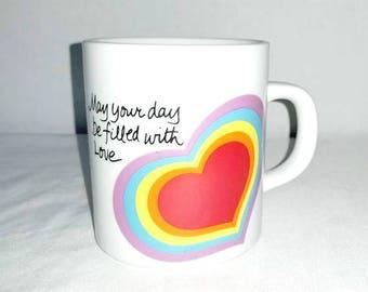 Vintage The Love Mug,Rainbow Mug,Avon Love Mug,Rainbow Coffee Cup,Rainbow Coffee Mug, Rainbow Cup, Heart Mug,LOVE, 1980s,