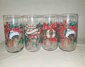 Vintage  Christmas Ornament Tumblers,House of Loyd,Set of 4,Holiday Table,Retro Christmas Glass,Vintage Christmas,Christmas Glassware,1990s