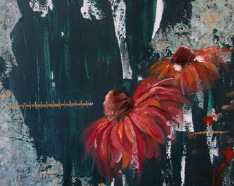 Abstract acrylic canvas flowers painting with gold