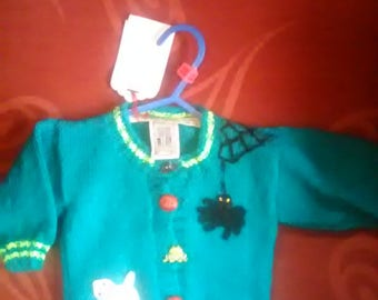 Hand knitted Cardigan, knitted to fit a child aged 0-3 months old