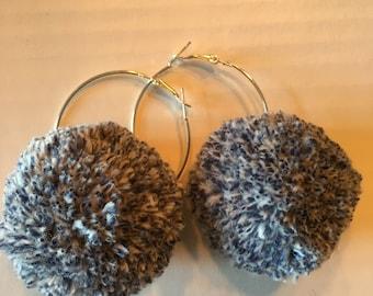 Blue Jean Pompom earings