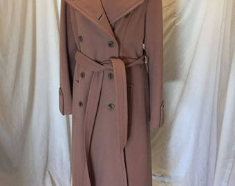 Vintage Aquamates Rose Tan Long Belted Trench Coat Jacket Double Breasted Lined