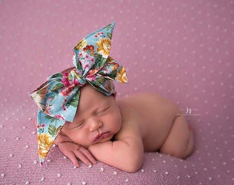 CORAL GARDEN Gorgeous Wrap- headwrap; fabric head wrap; floral head wrap; boho; newborn headband; baby headband; toddler headband