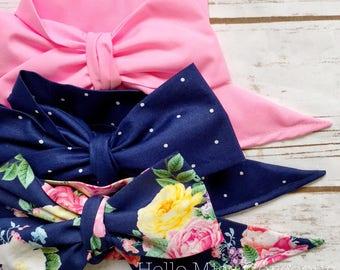 Gorgeous Wrap Trio (3 Gorgeous Wraps)- Petal Pink, Navy Sky & French Navy Floral Gorgeous Wraps; headwraps; fabric head wraps; bows