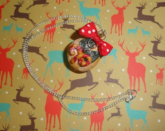 """""""Spirit of Christmas"""" in polymer clay cupcake necklace"""