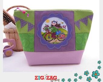 "Maxi-Trousse style basket (toilet, coats, clothes, pharmacy small) ""Tina bike"" Apple/lilac (H20 x x L28 base 18 x 12)"