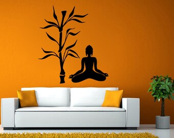 Bamboo Asian Tree Indian God Zen Yoga Poses Namaste Om Lotus Meditation Mantra Buddhism DIY Wall Stickers Decals Vinyl Mural Decor Art L2165