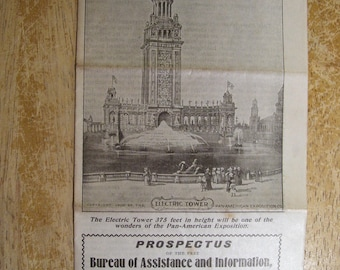 """1900 PAN-AMERICAN EXPOSITION Electric Tower Prospectus brochure (7x17"""" unfolded)"""