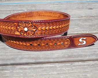 Western Arrow Basketweave and floral belt