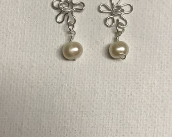 Hawaii Miniature Silver Wire Plumeria Earrings With White Fresh Water Pearls