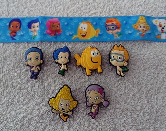 Ribbon Bubble Guppies (1.40 m) 25 mm + 6 jibbitz (badges for fangs)