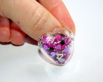 """Glass Globe Collection """"Saint Valentine little heart"""" fuschia, black and silver ring"""