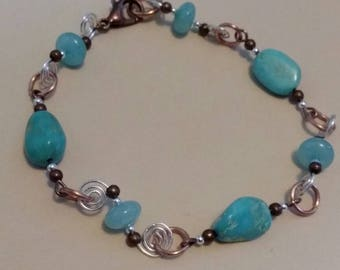 60 off Handmade Sterling Silver,  South American Aquamarine  and Turquoise Copper Swirl link bracelet