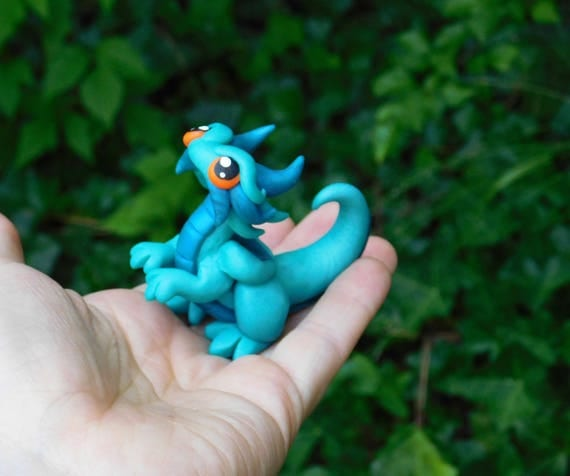 Mini Polymer Clay Dragon Sculpture- Light and Dark Teal Dragonling