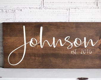 Wedding Valentines Day Gift For Her | Last Name Sign | Family Name Wood Sign | Custom Wedding Gift Wedding Established Wood Sign