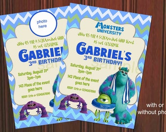 Monster Inc Invitation. Monster Inc Birthday Invitation. Monster Inc Printables. Monster University Invitation. Digital (you print)