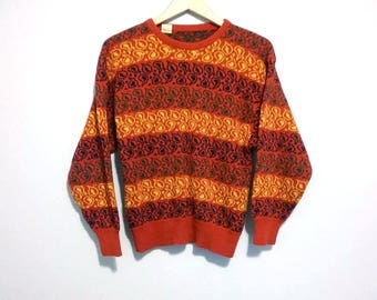 Vintage Striped Sweater Red Green Blue Yellow - Size Small
