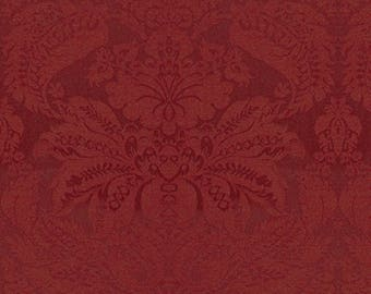 BRUNSCHWIG & FILSDOUGLAS Woven Texture Wool Damask Fabric 10 Yards Red Currant