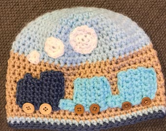 Crochet train hat