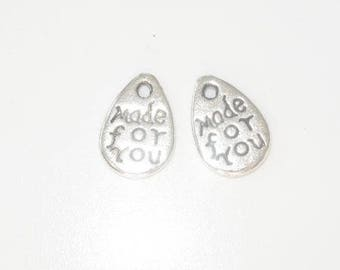 Message charm - made for your - silver metal (x 2)
