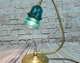 Vintage insulator repurposed lamp, desk lamp, table lamp, steampunk lamp