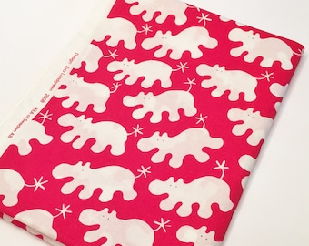 Red White Cotton Child Novelty Hippo Print Fabric Designed by Eva Lundgreen for Ikea 2008
