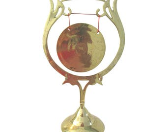 Indian Engraved Lacquered Brass Table Gong