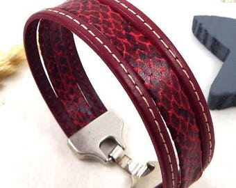 Leather Burgundy snakeskin 20mm silver plated clasp bracelet tutorial Kit