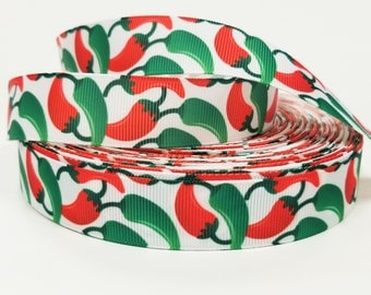 """7/8 """" inch Hot Chili Peppers - Red and Green Jalapenos on White - Printed Grosgrain Ribbon for 7/8 inch  Hair Bow"""