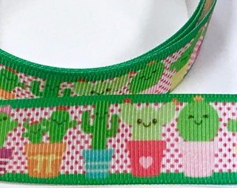 7/8 inch Cactus Cacti Pink Green on White Printed Grosgrain Ribbon Hair Bow - 7/8""