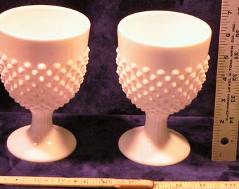 2 Large Milk Glass Goblets Chalices Cups