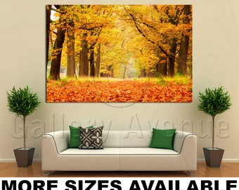 Wall Art Giclee Canvas Picture Print Gallery Wrap Ready to Hang Golden Woods Autumn 60x40 48x32 36x24 24x16 18x12 3.2