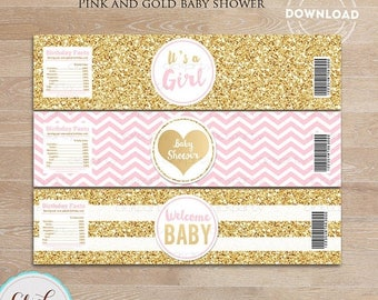50% OFF SALE Pink and Gold Baby Shower Water Bottle Label, Gold Glitter, bottle wrappers, party supplies, Birthday Party, Instant download