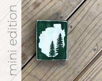 MINI 2 pine trees in Adirondack Park silhouette sign - Adirondacks - ADKS - Cabin Decor - Mountains - Adirondack Park - Lodge Decor - Hiking