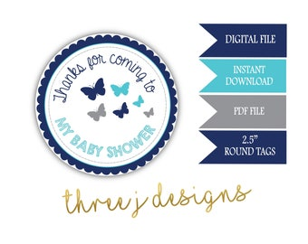 Butterfly Baby Shower Thank You Favor Tags - INSTANT DOWNLOAD - Navy Blue, Teal and Gray - Digital File - J007