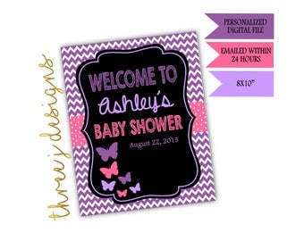 Butterfly Baby Shower Personalized Welcome Sign - Purple and Pink - Digital File - J002
