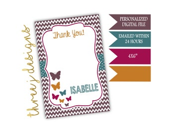 Butterfly Birthday Party Thank You Card - Personalized - Brown, Teal, Maroon and Gold - Digital File - J012