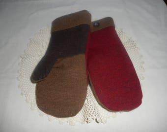 WOOL Mittens Handmade Recycled Sweater Wool Ladies sz SMALL OOAK